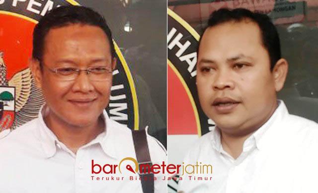 DUGAAN POLITIK UANG: Muslih HS (kiri) minta Ketua Panwaslu Lamongan, Toni Wijaya panggil Gus Ipul dalam dugaan politik uang.   Foto: Barometerjatim.com/HAMIM ANWAR
