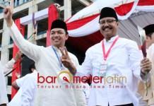 POLITIK 'MASUK AKAL': Gus Hans (kiri), masuk akal kalau Gus Ipul (kanan) mendukung Prabowo Subianto-Sandiaga Uno di Pilpres 2019. | Foto: Barometerjatim.com/ROY HASIBUAN