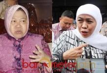 Khofifah (kanan) sarankan Risma judicial review ke MK soal pengelolaan SMA/SMK | Foto: Barometerjatim.com/roy hs