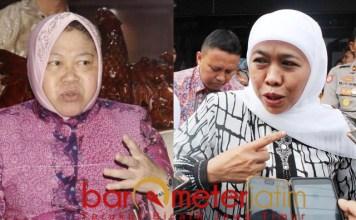 Khofifah (kanan) sarankan Risma judicial review ke MK soal pengelolaan SMA/SMK   Foto: Barometerjatim.com/roy hs