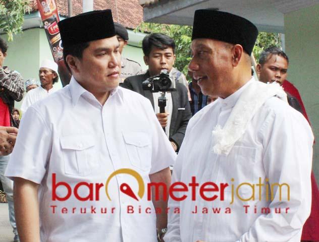 Arum Sabil bersama Ketua TKN Jokowi-Ma'ruf, Erick Thohir saat di Jember. | Foto: Barometerjatim.com/roy hs