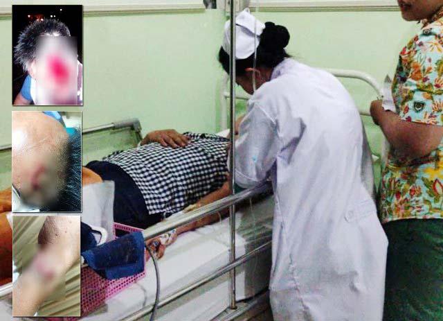 Rudy Wibowo saat dirawat di RS Adi Husada. Inset: Luka serius diduga akibat penganiayaan.   Foto: Ist