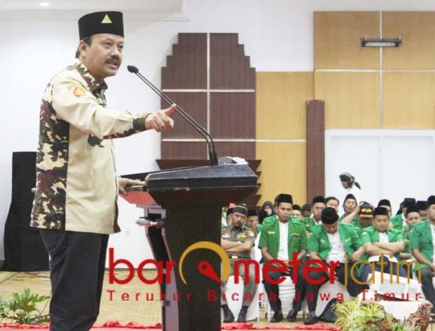 Kasatkornas Banser Alfa Isnaeni, gagal menembus kursi DPD RI. | Foto: Barometerjatim.com/roy hs