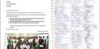 TUNTUT KONFERWIL: 26 PC Ansor Jatim hari ini menyerahkan surat pernyataan sikap ke Ketum Ansor. | Foto: Barometerjatim.com/IST