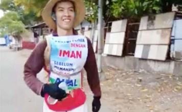 PENUHI NAZAR: Agus Salim, berjalan kaki dan lari dari Pasuruan ke Surabaya demi bertemu Khofifah. | Foto: IST