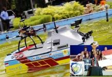 ITS JUARA DUNIA: Kapal robot Tim Barunastra ITS juara di AS. Inset: Selebrasi juara. | Foto: IST