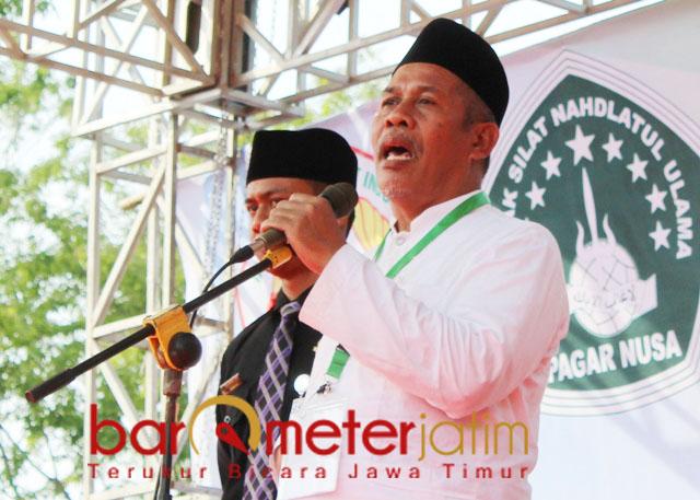 PAGAR NUSA: KH Marzuki Mustamar, Pagar Nusa jangan kalah, lembek, nanti yang menang HTI. | Foto: Barometerjatim.com/ROY HS
