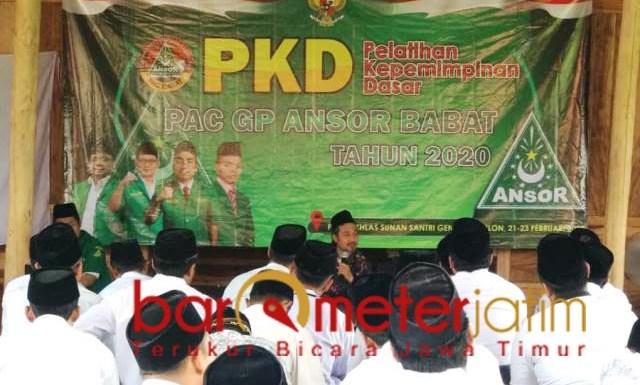 PKD ANSOR: Ansor Babat gelar PKD di Ponpes Al Ikhlas Sunan Santri. | Foto: Barometerjatim.com/HAMIN ANWAR