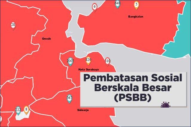 DISETUJUI PSBB: Surabaya, Sidoarjo dan Gresik disetujui Menkes untuk terapkan PSBB.   Foto: Barometerjatim.com/IST