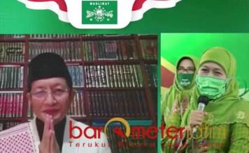 VIRTUAL: Prof Nasaruddin Umar saat mengisi taushiyah di halal bi halal Muslimat NU. | Foto: Barometerjatim.com/ROY HS