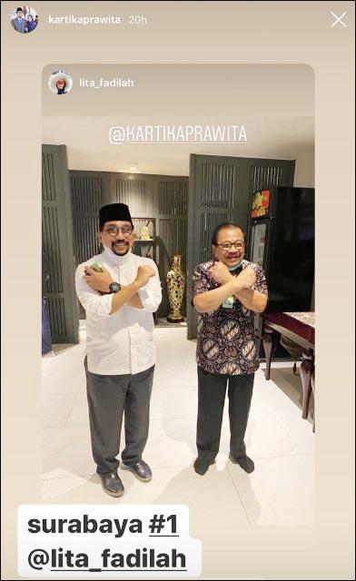 BERI SEMANGAT: Pakde Karwo temui Machfud Arifin. Adakah pesan khusus terkait Pilwali Surabaya? | Foto: Instagram