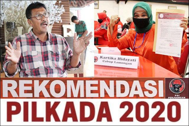 PILBUP LAMONGAN: PDIP rekom Kartika Hidayati (kanan), Suhandoyo pilih maju lewat independen. | Foto: Barometerjatim.com/ROY HS