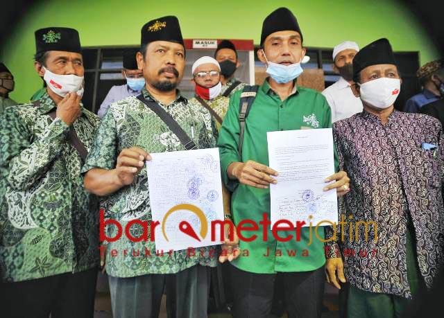 SOLID DUKUNG MUHIBBIN: MWCNU se-Kota Surabaya solid dukung kepengurusan duet KH Sulaiman Nur-Muhibbin Zuhri.   Foto: Barometerjatim.com/ROY HS