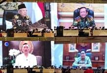 UNESA: Sejumlah tokoh nasional hadir secara virtual dalam pengukuhan Maba dan guru besar Unesa. | Foto: Ist
