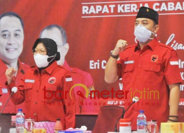BIKIN LAWAN PANIK: Risma dan Eri Armuji, pembuat dan penerus kebaikan dalam membangun Kota Surabaya.   Foto: Barometerjatim.com/ROY HS