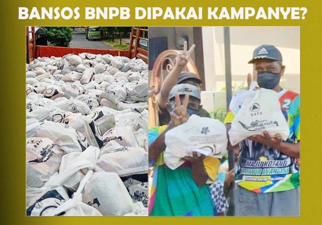 BANSOS BUAT KAMPANYE?: Tiga penerima paket bantuan BNPB berkaus kampanye Machfud-Mujiaman sambil acungkan dua jari.   Foto: WA