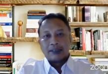 PERAN TNI: Choirul Anam saat webinar Raperpres terkait tugas TNI dalam mengatasi aksi terorisme. | Foto: IST