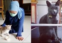 TEMAN DI TEMPAT ISOLASI: Khofifah ditemani kucing kampung (kiri) dan Kucing Busok dari Pulau Raas. | Foto: Akun IG Khofifah