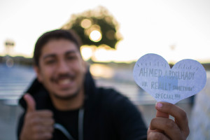 Ahmed Abdelhady ('18) feels the love from ASB. Photo by Alex Tran