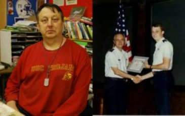Robert Papendick proudly receives his certificate for his service (right) and Papendick now in his last year of teaching (left). Photo courtesy of Robert Papendick.