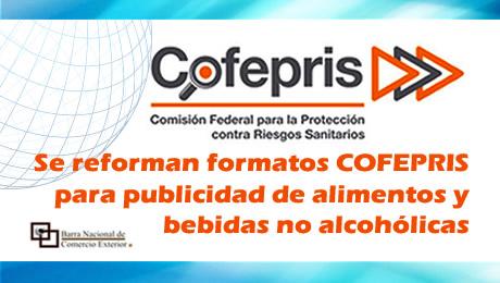Se reforman formatos COFEPRIS para publicidad de alimentos y bebidas