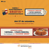 Shopping Metropolitano Barra realiza promoção com Cinemark e Outback Steakhouse