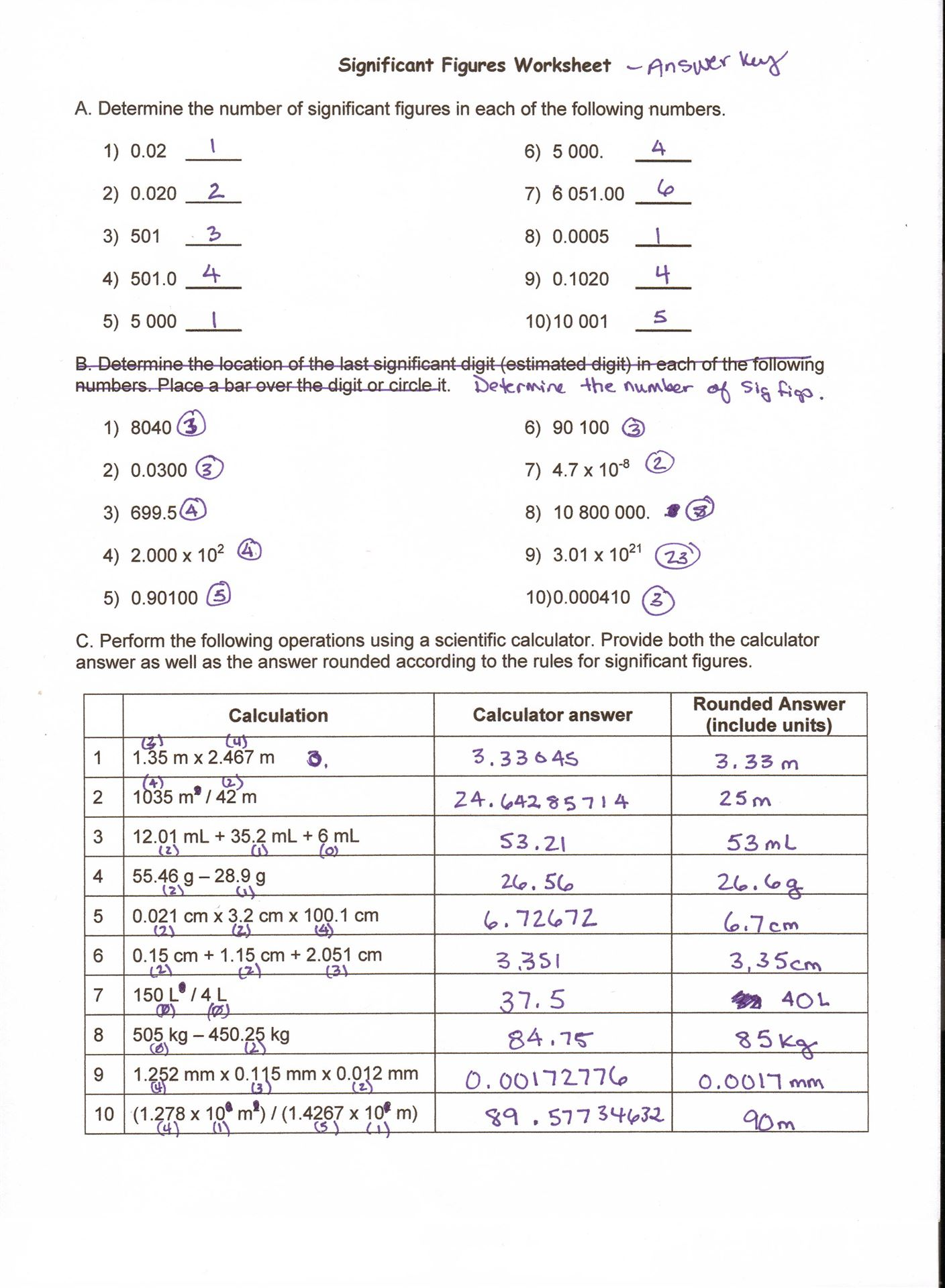 Measuring Units Worksheet Answer Key