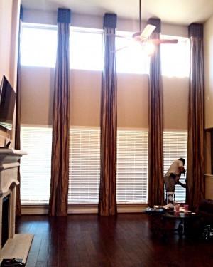 Custom Tall Window Treatment with Box Cornice Boards