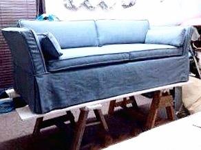 Custom Blue Sofa Slipcover