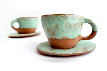 Red Clay Coffe or Tea Cup with Green Glaze