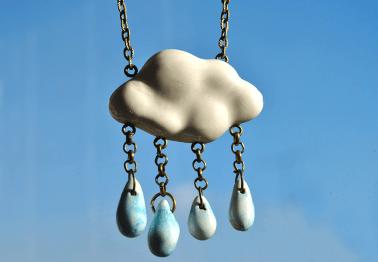 Blue Rainy Cloud Pendant
