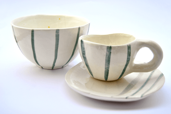 Set of Green Stripes Bowl and Cup Handmade