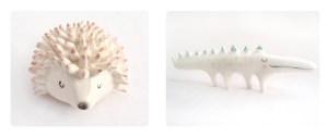 Miniatura de erizo y cocodrilo