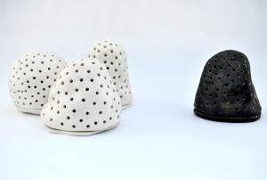 Portavelas Ceramica Blanco Negro