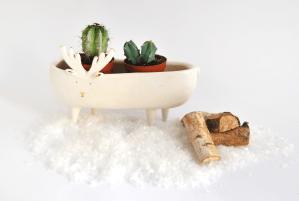 Macetero Ceramica Reno con Detalles Oro