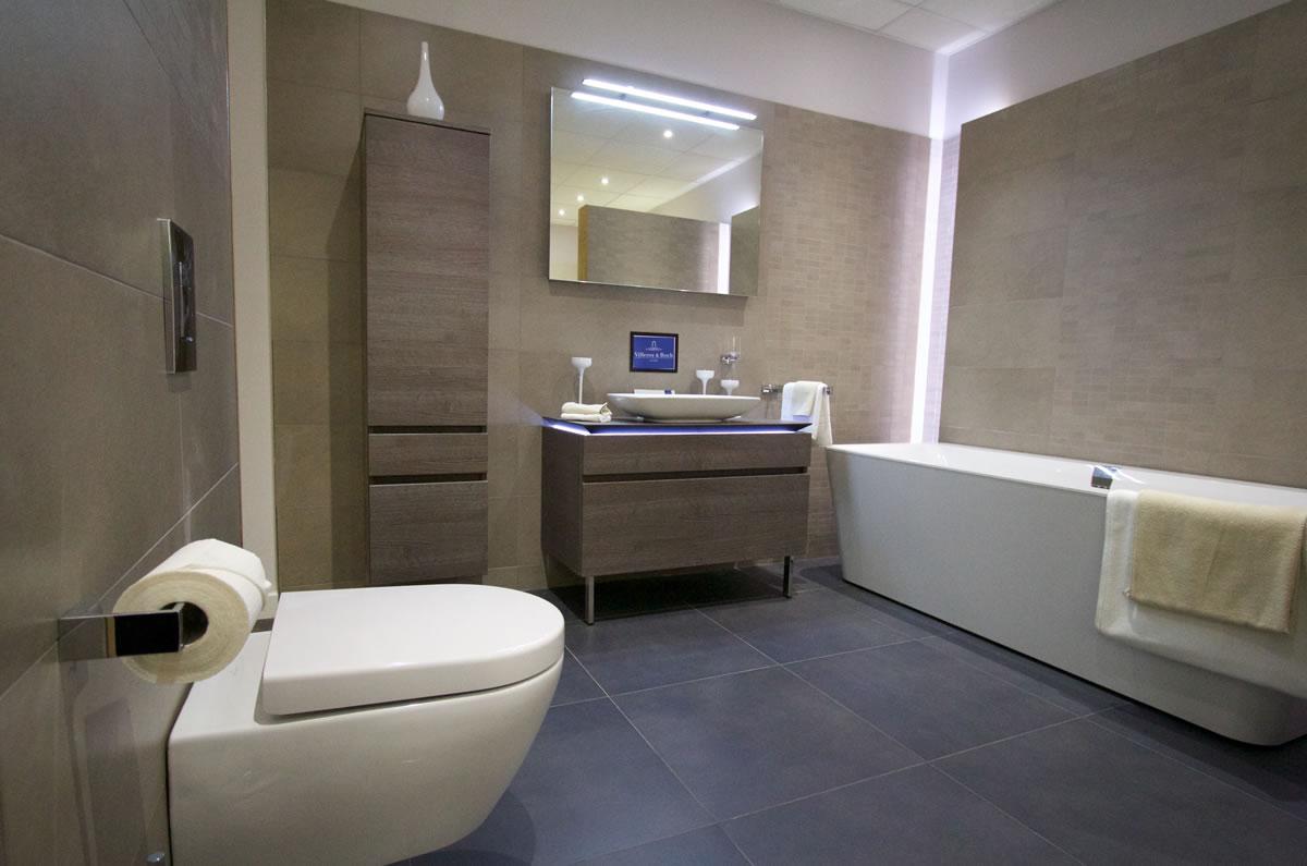 Beautiful lit modern bathroom installation