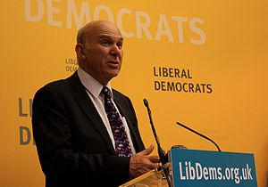 Vince Cable at a Liberal Democrats meeting