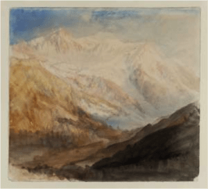 """J. M. W. Turner, """"Mont Blanc and the Glacier des Bossons from above Chamonix; Evening 1836″, Tate Britain."""