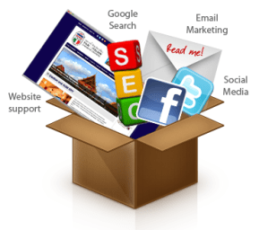 social media icons in a box