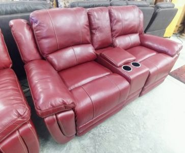 MNY2628 5P 2214L+PUb Salsa Leather Motion Sofa And Loveseat Cup Storage C1298 P