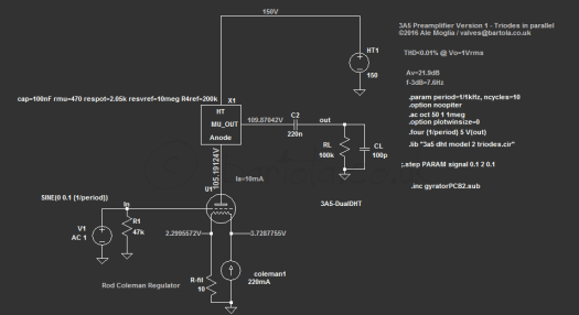 3A5 DHT preamp using gyrator load