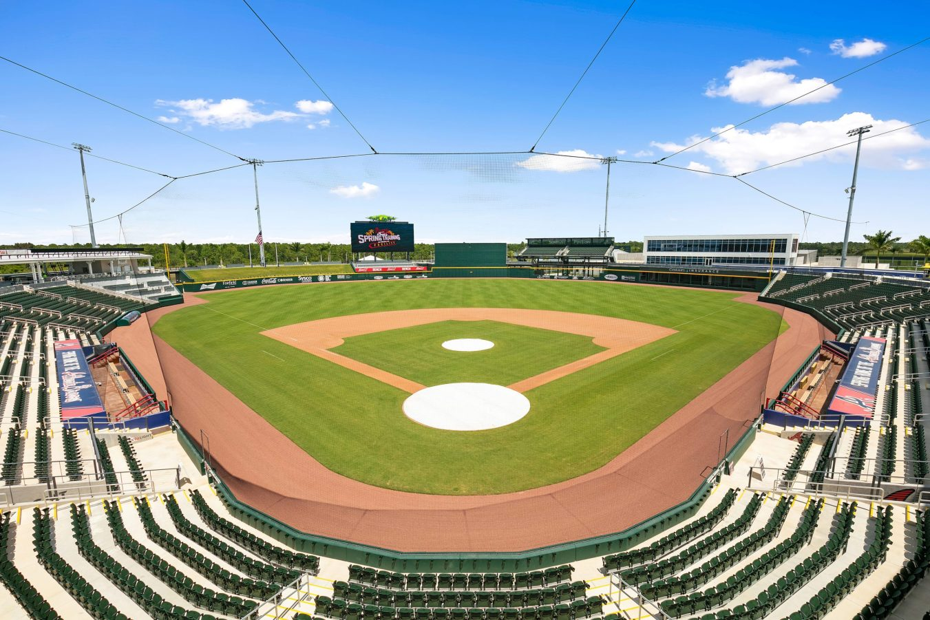 A view of the Atlanta Braves Spring Training stadium from behind home plate
