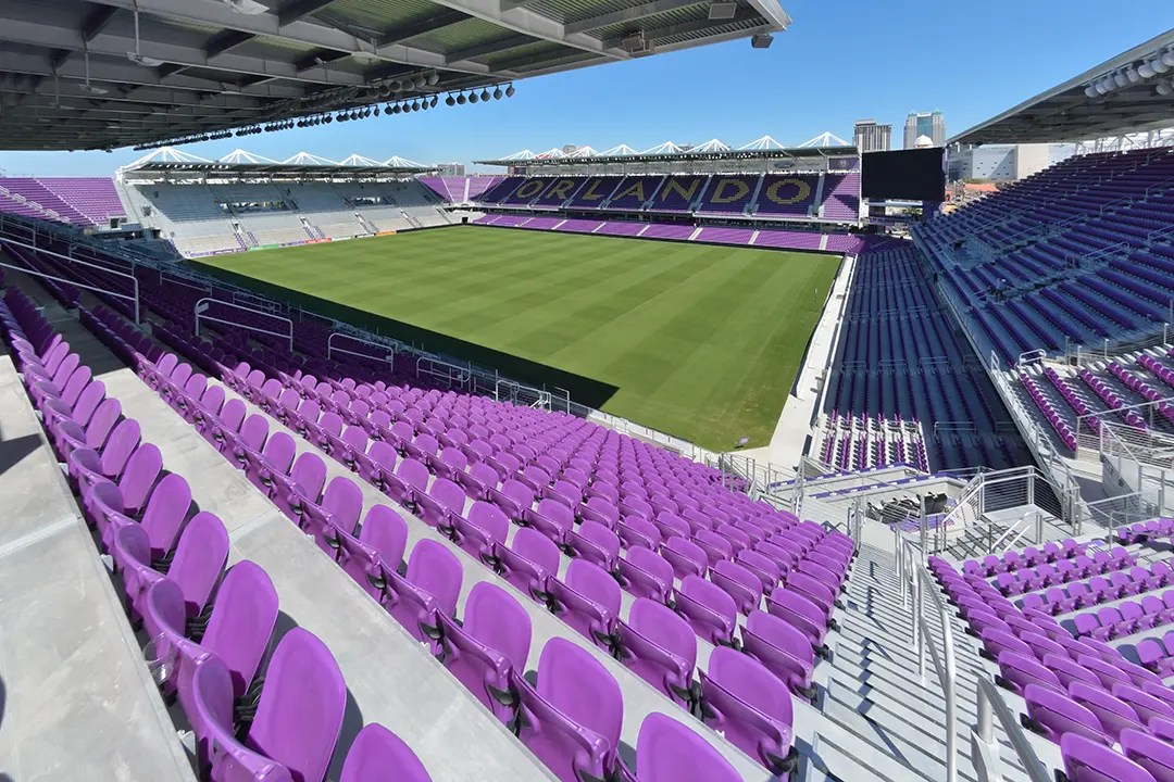 Fisheye view of Exploria Stadium seating and soccer field