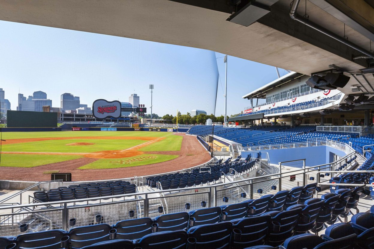 First Tennessee Ballpark, Home of Nashville Sounds - Stadium overlooks the the city of Nashville