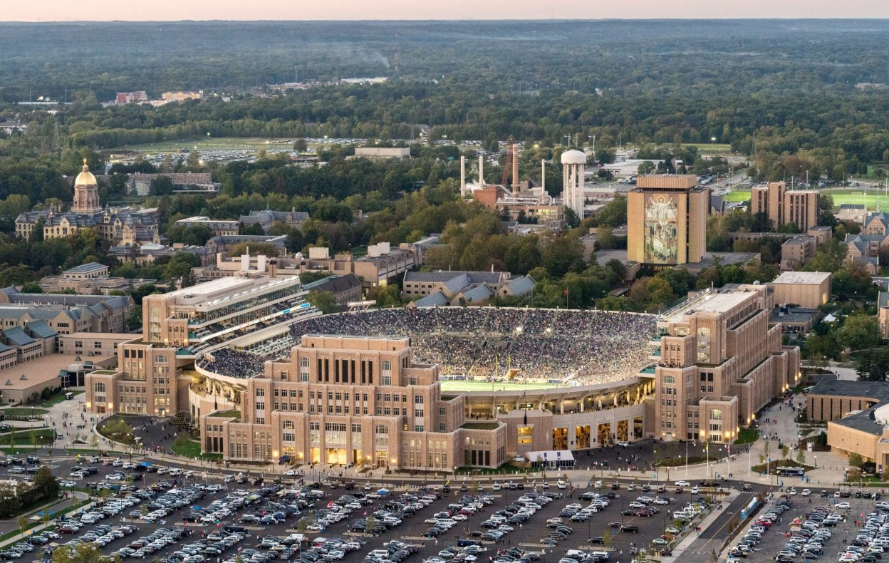 University of Notre Dame Campus Crossroads Stadium Aerial