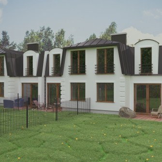 fotorealistyczna wizualizacja projektu domu jednorodzinnego w zabudowie wielorodzinnej
