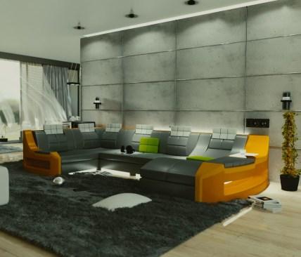 nowoczesna sofa w salonie z betonem