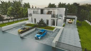 wizualizacja nowoczesnego bliźniaka, dom jednorodzinny