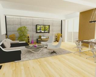 nowoczesny salon z betonem i drewnem, autor: krzysztof Szozda