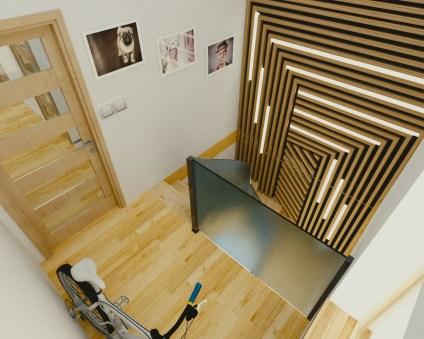 wizualizacja klatki schodowej w domku jednorodzinnyym